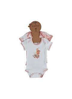 Ecocotton Organik Pamuk Kısa Kollu 2Li Bebek Zıbın - Rosa Beyaz - Somon